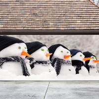 Christmas Garage Door Cover Banners 3d Snowman Holiday Outside Decorations Outdoor Decor for Garage Door G74