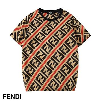 FENDI 2019 new men and women with round neck short sleeve LOGO printing trend T-shirt red