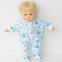 """15 inch Bitty Baby Clothes, Pajamas Sleeper, Cute """"Construction Trucks"""" pjs, 15 inch Bitty Baby and Twin Doll"""