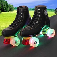 New Kids Adult Double Roller Skates Figure SkatingTwo Line Roller Skate Female Patins Adulto Cowhide leather Flashing Wheel IB25