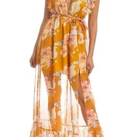 Brunch Babe Floral Ruffle Maxi Dress