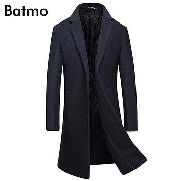 Batmo 2017 new arrival winter high quality wool men's Single Breasted thick trench coat,winter coat men ,plus-size MN8633