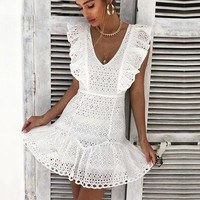 Elegant ruffle cotton white women dress Embroidery high waist dress casual Vintage short party dresses ladies