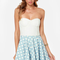 Mink Pink Sugar Magnolia Blue and Ivory Polka Dot Dress