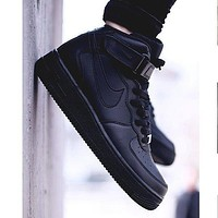 NIKE Women Men Running Sport Casual Shoes Sneakers Air force high tops shoes Black