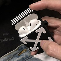 OFF-WHITE Tide brand Bluetooth wireless headset cover black