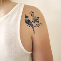 Temporary tattoo vintage 'Delfts Blauw' bird and flowers, Fashion Tattoo
