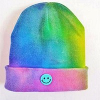 Unisex Retro Trippy Tie Dye Smiley Face Beanie Hat from GroovyVibes