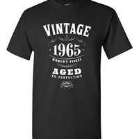 50th Birthday Gift Vintage 1965 T-shirt Tshirt Tee Shirt Dads Moms Mens Womens Fifty bday Funny Joke Whisky Aged to perfection Gift for Dad