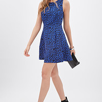 LOVE 21 Pleated Leopard Tea Dress Royal/Black