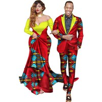 Two Piece Set African Dashiki Print Couple Clothing for Lovers