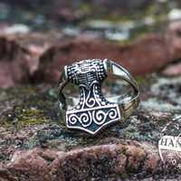 Handcrafted Thor's Hammer Ring Sterling Silver Ring Handmade Viking Jewelry