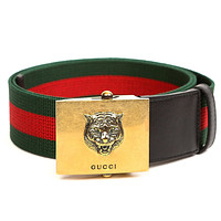 Wiberlux Gucci Men's Square Buckle Striped Webbed Belt