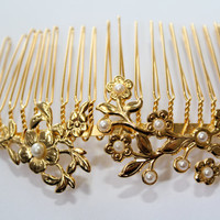 Gold Hair Comb-Wedding Hair Comb - Golden Hair Piece - Wedding Hair Jewelry with pearls - Hair Accessories .