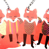 Fantastic Foxes Gift Tags Set of 8 Foxes With Different Print Chest And Tail Tip