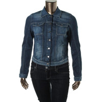 Guess Womens Stretch Button Down Denim Jacket