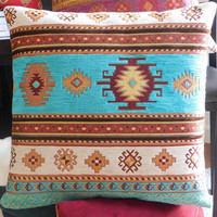 Light Blue Turkish Pillow Cover - Light Blue Ethnic Tribal with Brown Suede Pillow Cushion 16 x 16 inch