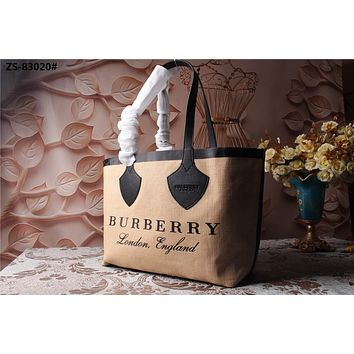 BURBERRY WOMEN'S CANVAS HANDBAG TOTE BAG