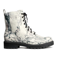 H&M - Lace-up Boots - White/marble - Ladies