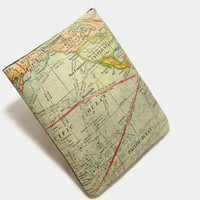 Hand Crafted Tablet Case From Atlas/ Map of the World Fabric /Case for: iPad mini, Kindle Fire HD 7, Samsung Galaxy 7, Nook HD 7