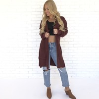 Grind It Out Long Cardigan in Wine