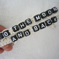 Couples Bracelets Set, His and Hers, to the Moon and Back Bracelets, Anniversary Gifts, Bridesmaid Jewelry, Friendship Graduation Gifts