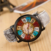 Womens Retro Vintage Leather Strap Watch Best Christmas Gift 418