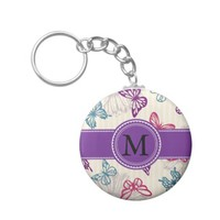 Red Teal Purple Butterflies on Tan with Monogram Basic Round Button Keychain