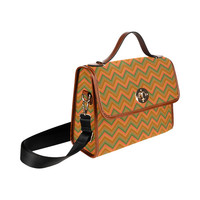 Autumn Colored Zigzag Waterproof Canvas Bag/All Over Print (Model 1641) | ID: D1839168