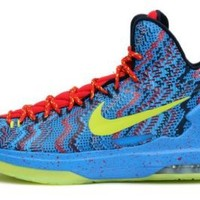 "Nike Mens KD V ""Christmas"" Hyper Blue/Atomic Green-Photo Blue Synthetic Basketball Shoes Size 10"