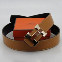 Hermes Woman Men Trending Smooth Buckle Belt Unisex Leather Belt Brown I