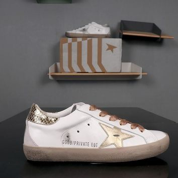GOLDEN GOOSE GGDB PRIVATE EDT Superstar Gold White Leather Sneakers