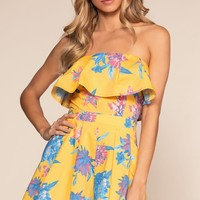 Beneath The Palms Romper - Yellow
