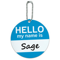Sage Hello My Name Is Round ID Card Luggage Tag