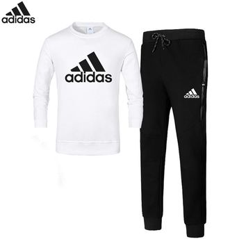 Adidas autumn and winter cotton plus velvet hooded trousers sportswear two-piece suit White