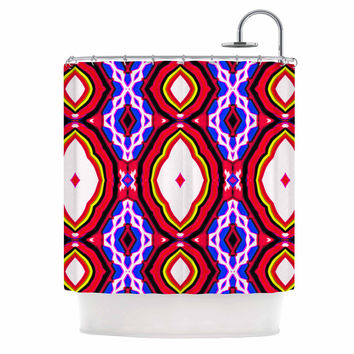 "Dawid Roc ""Inspired By Psychedelic Art 2""  Red Abstract Shower Curtain"