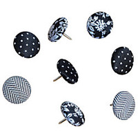 See Jane Work Pushpins Fabric Black Pack Of 8 by Office Depot