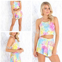 Tie-Dyed Cropped Top and High Waist Shorts Set