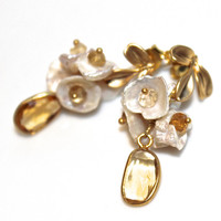 Citrine Earrings Citrine Jewelry Cluster Earrings Pearl Earrings Novermber Birthstone Gemstone Earrings FizzCandy