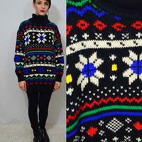 90s Turtleneck Sweater Geo Fair Isle Soft Grunge Hipster Large Women's Vintage Clothing Oversize Jumper Black Rainbow Colorful slouchy 1990s