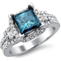 Fashion Jewelry 925 Sterling Silver Blue Zirconia Rings for Women Size 7 8 9 [8833668876]