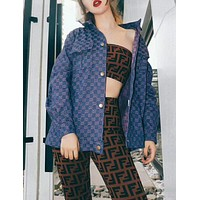 FENDI Spring Summer Popular Women Double F Letter Pattern Sexy Strapless Top Sports Stretch Pants Trousers Sweatpants Two Piece Set I12816-1