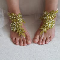 bridal accessories,  beads,lace,green wedding sandals,  shoes,  free shipping!   Anklet,bridal sandals,  bridesmaids,  wedding  gifts.......