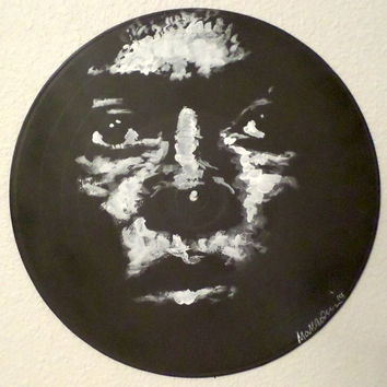 Painting on Vinyl Record, Miles Davis Art, Jazz Art, Black and White Art, Music Art, Jazz Art, Urban Art, Urban Decor