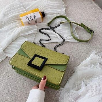 Stone Pattern GREEN Vegan Faux Leather Crossbody Bags For Women Small Shoulder Messenger Bag Female Luxury Chain Handbags and Purses