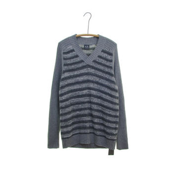 ARMANI EXCHANGE gray sweater striped sweater vintage 90s ribbed sweater oversized v neck gray stripes jumper deadstock NWT gifts for him M