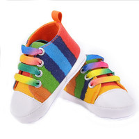 many styles canvas Baby shoes girl boy fashion rainbow soft casual Lace up First walker