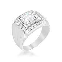 Men's Two-tone Finish Cubic Zirconia Ring, size : 12