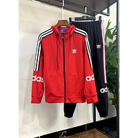 ADIDAS new men and women models wild hooded zipper cardigan casual suit two-piece