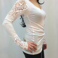 White Cotton Lace Women Blouse Long sleeve Lace Shirt, Sexy Body shirt, Long sleeves Blouse